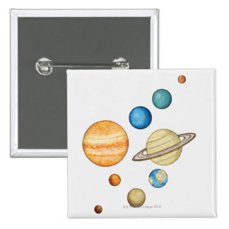 Illustration of the planets of the solar system 15 cm square badge