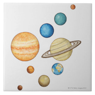 Illustration of the planets of the solar system large square tile