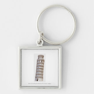 Illustration of the Tower of Pisa Silver-Colored Square Key Ring
