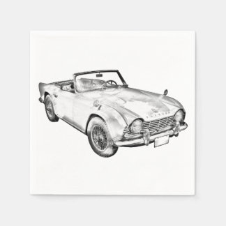 Illustration Of Triumph Tr4 Sports Car Disposable Serviettes