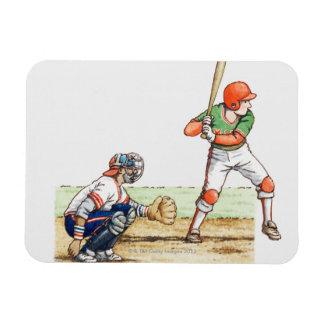 Illustration of two baseball players rectangular magnet