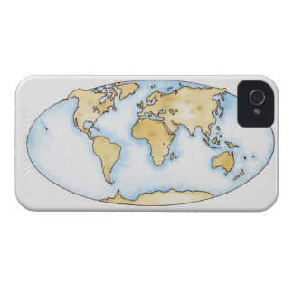 Illustration of world map Case-Mate iPhone 4 cases