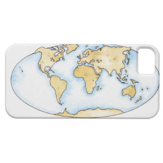 Illustration of world map iPhone 5 case