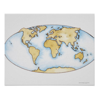 Illustration of world map poster