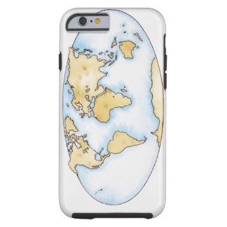 Illustration of world map tough iPhone 6 case
