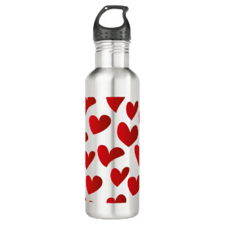Illustration pattern painted red heart love 710 ml water bottle