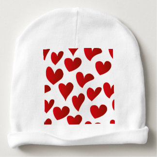 Illustration pattern painted red heart love baby beanie