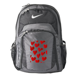 Illustration pattern painted red heart love backpack