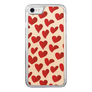 Illustration pattern painted red heart love carved iPhone 8/7 case