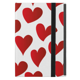 Illustration pattern painted red heart love cases for iPad mini