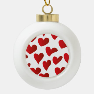 Illustration pattern painted red heart love ceramic ball decoration