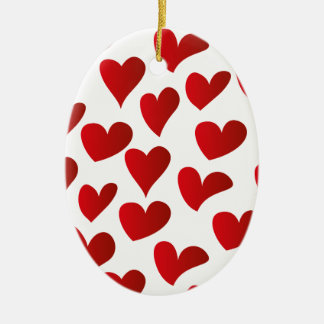 Illustration pattern painted red heart love ceramic oval decoration
