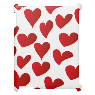 Illustration pattern painted red heart love cover for the iPad 2 3 4