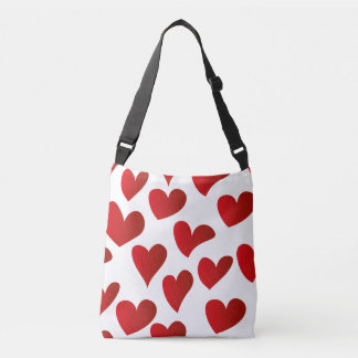 Illustration pattern painted red heart love crossbody bag