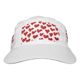 Illustration pattern painted red heart love hat