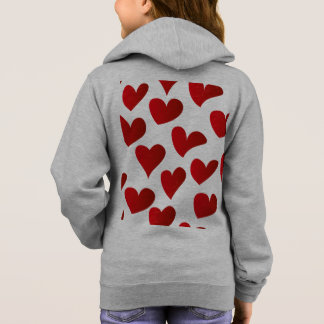 Illustration pattern painted red heart love hoodie