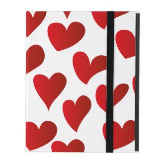 Illustration pattern painted red heart love iPad folio case