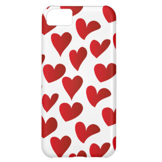 Illustration pattern painted red heart love iPhone 5C case