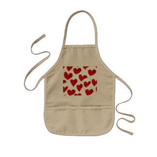 Illustration pattern painted red heart love kids apron