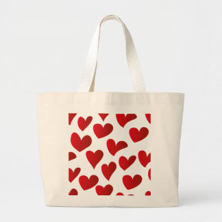 Illustration pattern painted red heart love large tote bag
