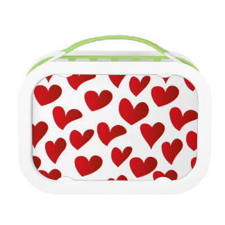 Illustration pattern painted red heart love lunch box