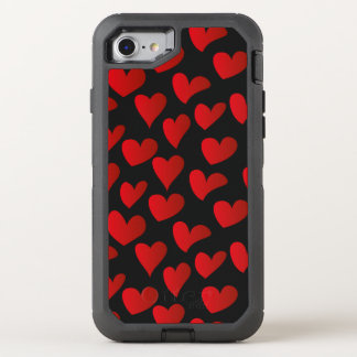Illustration pattern painted red heart love OtterBox defender iPhone 7 case