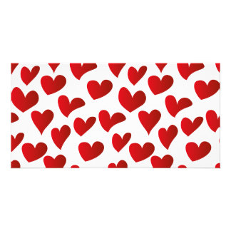 Illustration pattern painted red heart love personalised photo card