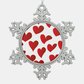 Illustration pattern painted red heart love pewter snowflake decoration
