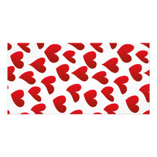 Illustration pattern painted red heart love picture card