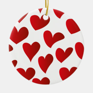 Illustration pattern painted red heart love round ceramic decoration
