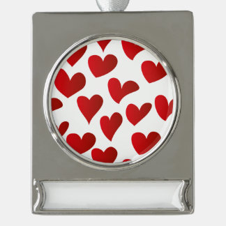 Illustration pattern painted red heart love silver plated banner ornament