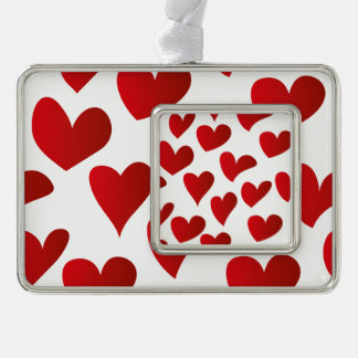 Illustration pattern painted red heart love silver plated framed ornament