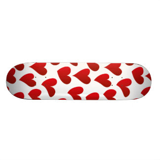 Illustration pattern painted red heart love skate board