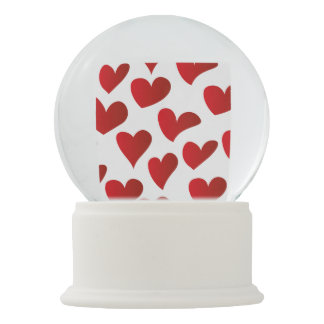 Illustration pattern painted red heart love snow globes