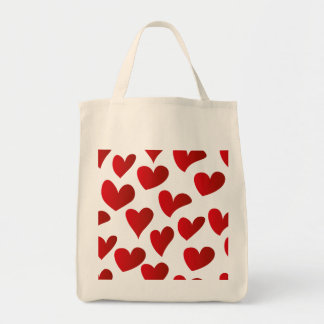 Illustration pattern painted red heart love tote bag