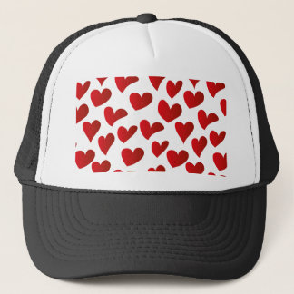 Illustration pattern painted red heart love trucker hat
