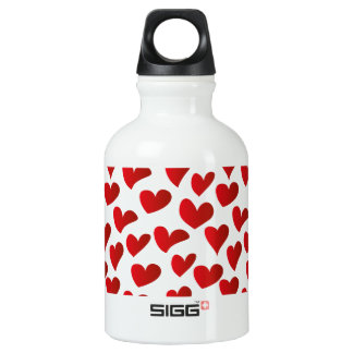 Illustration pattern painted red heart love water bottle