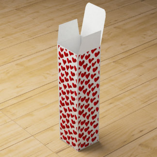 Illustration pattern painted red heart love wine bottle boxes