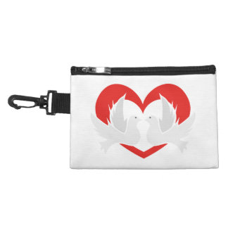 Illustration peace doves with heart accessory bag