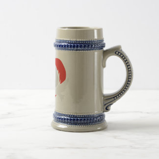 Illustration peace doves with heart beer stein
