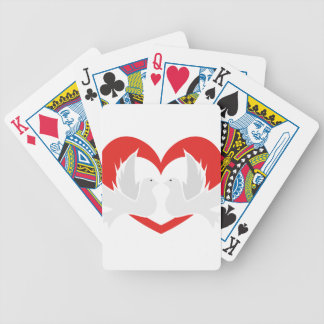 Illustration peace doves with heart bicycle playing cards