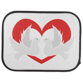 Illustration peace doves with heart car mat