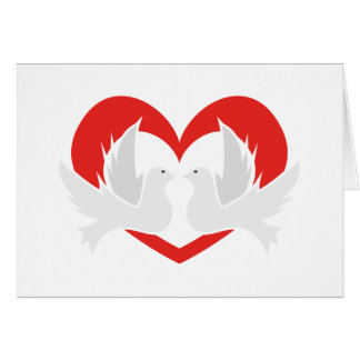 Illustration peace doves with heart card