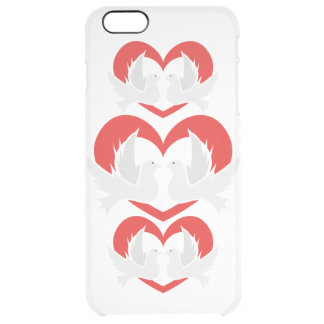 Illustration peace doves with heart clear iPhone 6 plus case