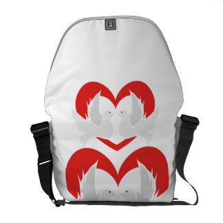 Illustration peace doves with heart commuter bag