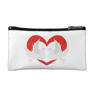 Illustration peace doves with heart cosmetic bag
