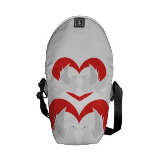 Illustration peace doves with heart courier bag
