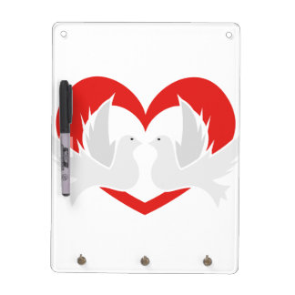 Illustration peace doves with heart dry erase board