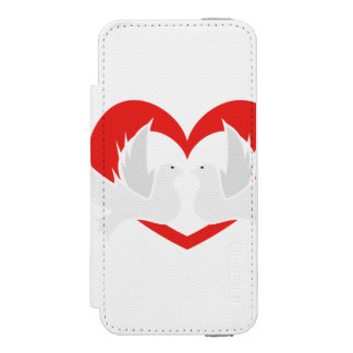 Illustration peace doves with heart incipio watson™ iPhone 5 wallet case