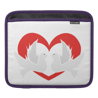 Illustration peace doves with heart iPad sleeve